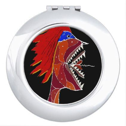 Angry Monster Side View Portrait Compact Mirror Drawing Sketch Design Graphic Draw Personalize Mirror Drawings Compact Mirror Mirror