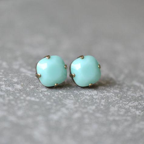 Mint Alabaster Stud Earrings Rose Gold Mint Green Bridesmaids Earrings Swarovski Studs Earrings Stud Post or Clip On Earrings Bridal Earring #MintEarrings #MintWedding #MintBridesmaid #MintStuds #OpaqueMint #MintCrystal #MintSwarovski #MintGreenWedding #GiftForHer #BlueWedding