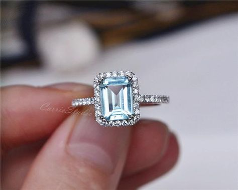 b6b9c43f3e17f5 Emerald Cut natural Aquamarine ring with 925 sterling silver, perfect as  engagement/wedding ring, birthday or anniversary gift, etc.
