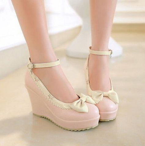 8809df847d9 Womens High Platform Wedge Heel Bowknot Lolita Ankle Strap Pump Mary Janes  Shoes