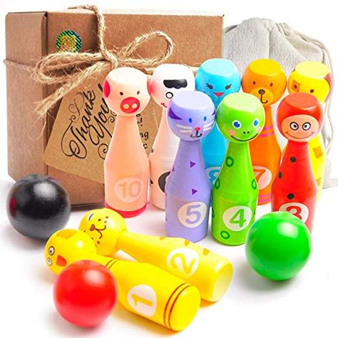 Neato Tek Cute Indoor Outdoor Kids Bowling Friends Play Set Animal Bowling Game Set for Children with 10 Wooden Pins and Two Balls 4.8 inch