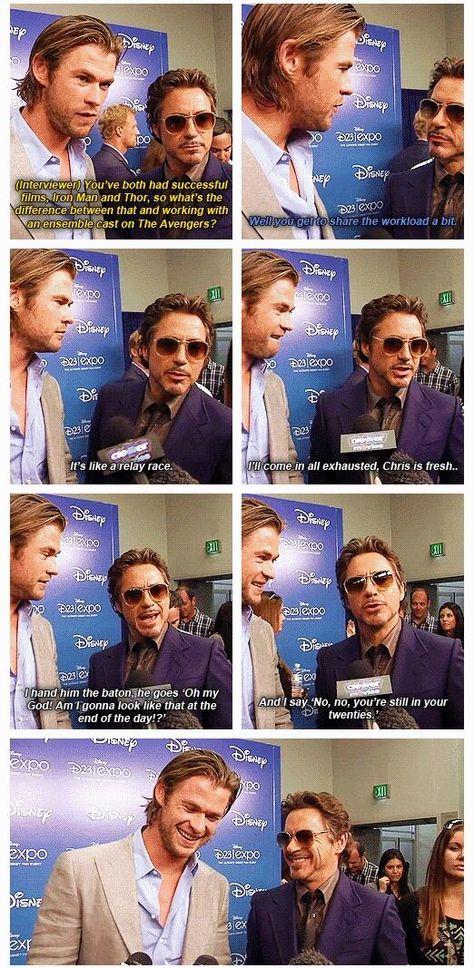 """Robert Downey Jr. & Chris Hemsworth - Iron Man & Thor - """"No,"""