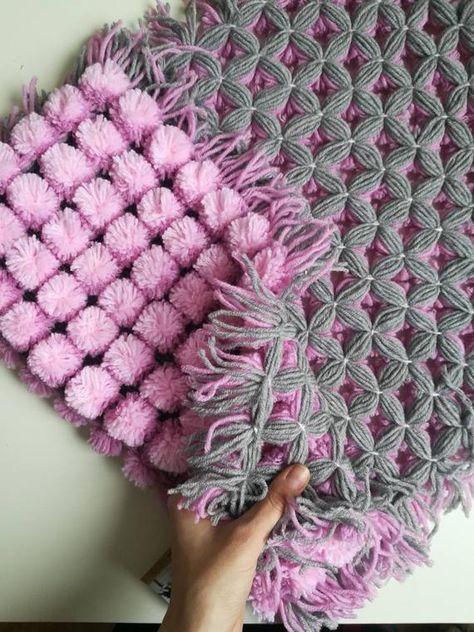 NURSERY RUG newborn baby photo prop, Pompon crochet baby rug
