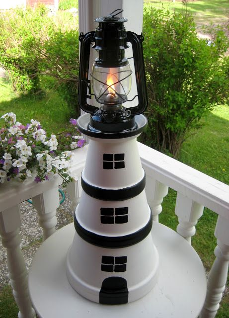 Lighthouse Gifts, Clay Pot Lighthouse, Lighthouse Decor, Clay Flower Pots, Flower Pot Crafts, Clay Pots, Clay Pot Projects, Clay Pot Crafts, Beach Crafts