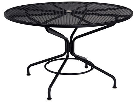 48 Round Mesh Mercury Top With Umbrella Hole Metal Outdoor Table Round Patio Table Patio Table Top