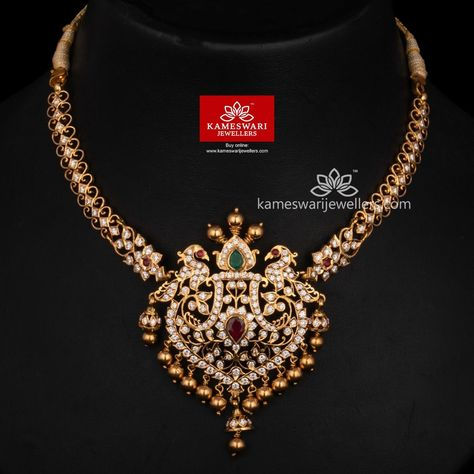 Traditional gold necklaces for women from the house of Kameswari. Shop for antique gold necklace, exquisite diamond necklace and more!