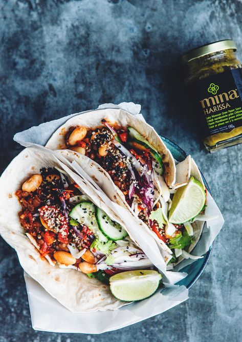 Vegan Tacos-Fresh lime, coriander and cucumber are cool contrasts to the spicy warm beans.