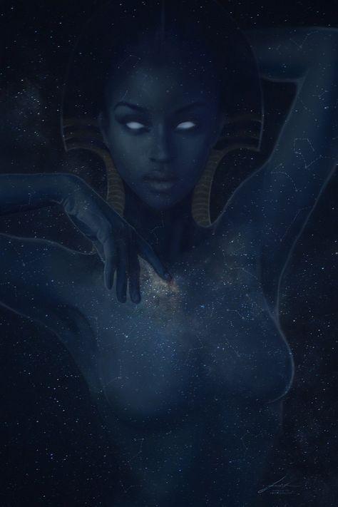 Nuit - print - Egyptian Mythology Art - Goddess of the Starry Sky Nuit - print - Egyptian Mythology Art - Goddess of the Starry Sky <br> Star Goddess, Black Goddess, Goddess Art, Moon Goddess, Nut Goddess, Divine Goddess, Black Girl Art, Black Women Art, Black Art