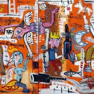quadro-moderno-grande-arancione-studio-medico-arredamento ...