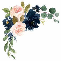 Navy Blue And Blush Pink Wedding Invitations Set Floral Watercolor Watercolor Flowers Flower Painting