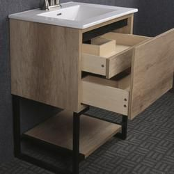 Dolphin Plumbing 24 W X 19 D Natural Cayenne Vanity And White