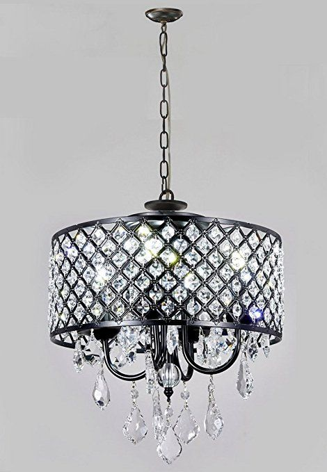 New Galaxy Ng1qq01 4l Modern Antique Black 4 Light Round Crystal Chandelier Pendant Ceil Crystal Chandelier Kitchen Crystal Chandelier Black Crystal Chandelier