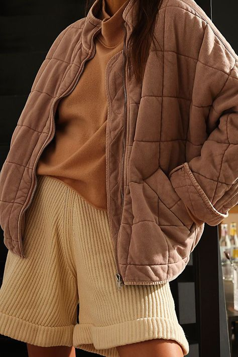 Free People - Coat - Jacket - Layering - Dolman - Bomber - Quilted - Warm - Soft - Comfortable - Slouchy - Fall Fall Outfits, Cute Outfits, Fashion Outfits, Modern Fashion, Minimalist Fashion, Knit Jacket, Quilted Jacket, Aesthetic Clothes, Dress To Impress