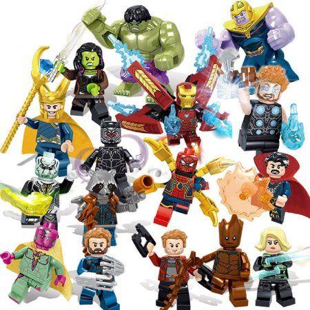 New 24Pcs Marvel Avengers 4 Iron Man Captain Marvel Thanos Custom Minifigure