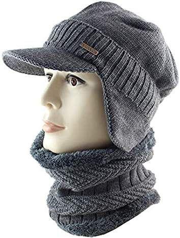 Winter Beanie W Visor Earflaps For Men Women Outdoor Fleece Hat Scarf Set Winter Leggings Winter Hat And Scarf Women S Leggings