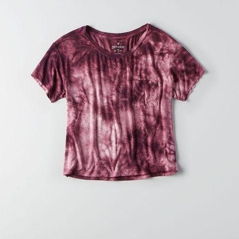 AEO Soft & Sexy Sky High T-Shirt ($25) ❤ liked on Polyvore featuring tops, t-shirts, boxy t shirt, purple t shirt, crew neck tee, tye dye t shirts and boxy tee