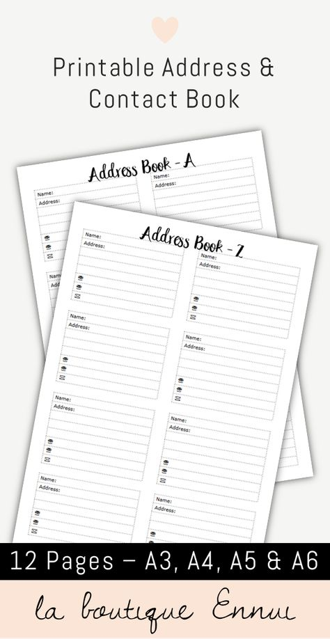 Printable address book with fields for name, address, 2 phone