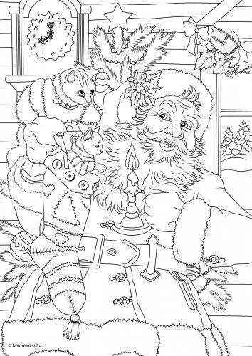 weihnachtsmannfärbung mit kätzchen printe …