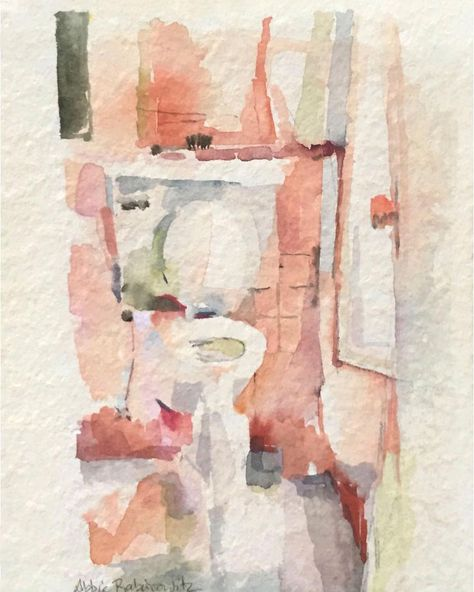 Toilet Watercolor 6x4 Bathroomart Toiletart Watercolor