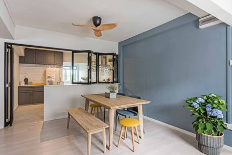 8 Ways to do a Semi-Open Kitchen in your HDB: Bi-fold dividers give you a convertible kitchen. They fold up neatly to reveal an open kitchen, and when closed, help to conceal the clatter and cooking grease from the rest of your home.