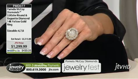 """""""This ring is the epitome of fashion...the cornerstone of your wardrobe."""" Pamela McCoy Pamela Mccoy Diamonds(Tm) 2.00ctw Round And Baguette 14k Yellow Gold Ring ERV: $3,315.00 JTV Price: $1299.99"""