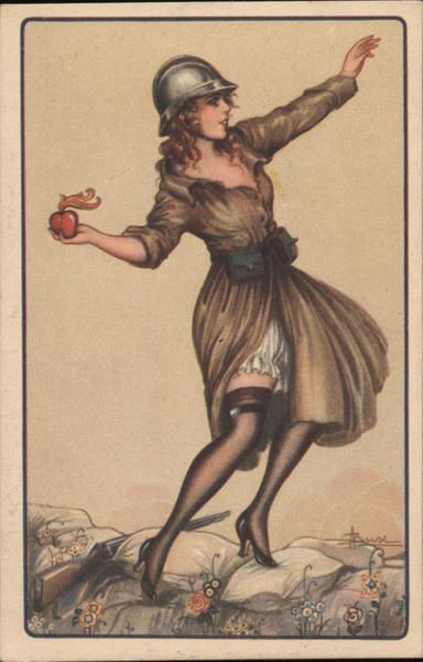Woman Soldier Throwing Heart Gernade Artist Signed Adolfo Busi ...