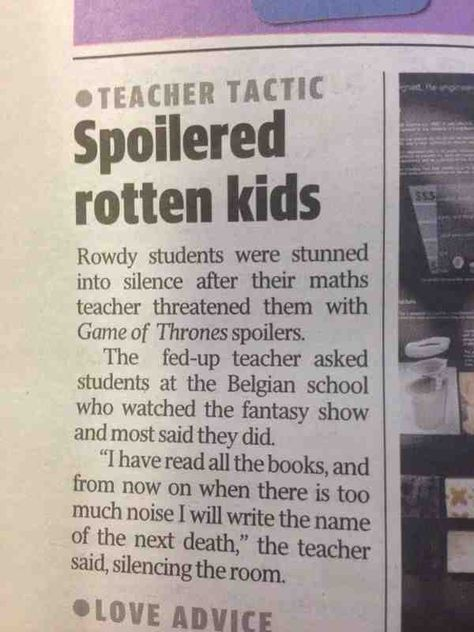 Silencing the classroom: Game of Thrones style