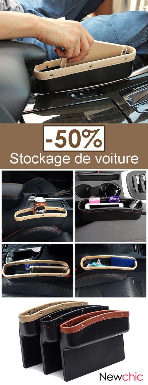 Boîte Rangement en Cuir pour Siège de Voiture Poche Stockage Automobile Arrangeant Téléphone Carte Cigarette
