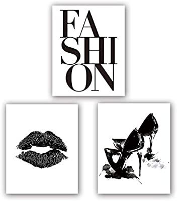 Amazon Com Fashion Art Print Set Of 3 8 X10 Minimalist Makeup Art Fashion Lips Shoes Watercolor Printing Fo Fashion Art Prints Art Print Set Poster Wall Art