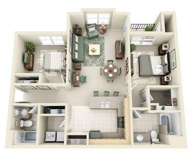 Contoh Model Ruangan Rumah Minimalis Terbaru Sidikul Apartment Layout Small House Plans Two Bedroom House