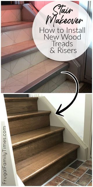 Diy Stairs Makeover How To Install Wood Treads Risers Over Old