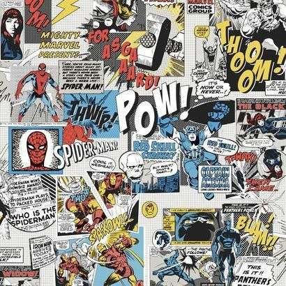 York Marvel Comics Pow! Black/Blue/Red Wallpaper - Trade - York Marvel Comics Pow! Di0944 Wallpaper / MARVEL COMICS POW! / YWDD37DI0944