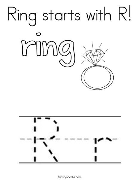 Ring Starts With R Coloring Page Twisty Noodle Book Crafts
