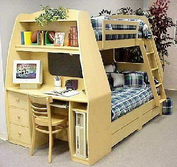 Kids Bunk Beds Twin Over Full With Desk