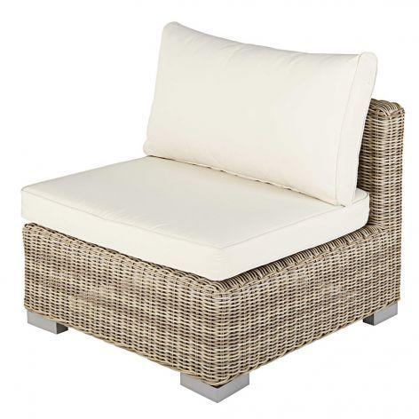 Modular Garden Armless Single Seat Sofa In Beige Resin Wicker With