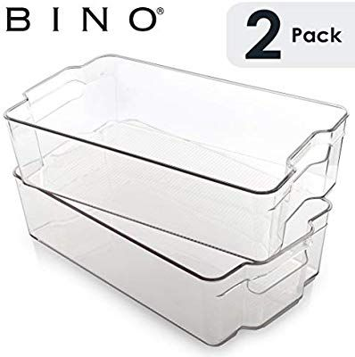 Amazon Com Bino Stackable Plastic Organizer Storage Bins Large 2 Pack Pantry Organization A Pantry Storage Refrigerator Organization Pantry Organization