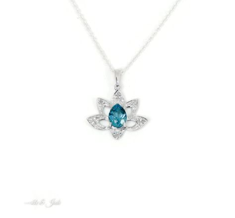 Pendants Necklaces by CS-DB Fashion 1ct Round Blue Topaz Gift Silver Womens Jewelry