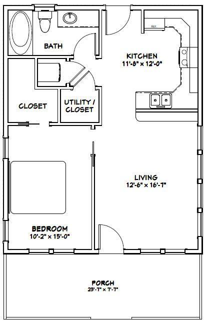 24x30 House 24x30h1b 720 Sq Ft Excellent Floor Plans Small House Floor Plans House Plans Tiny House Floor Plans