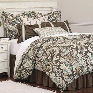 Kira Blue And Brown Floral Brown And Turquoise Floral Bedding Brown Floral Bedding Blue And Brown Brown And Bed Linens Luxury Paisley Bedding Luxury Bedding