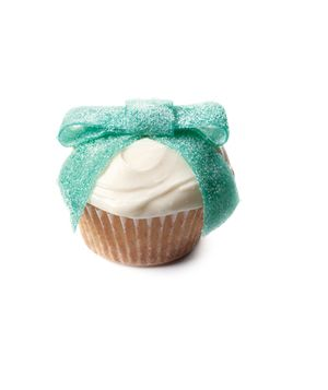 Gummy tape bow topped cupcakes