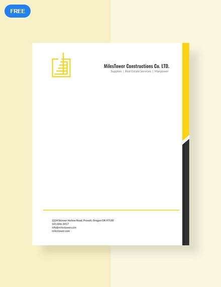 Construction Letterhead Template Free Pdf Word Doc Psd Apple Mac Pages Illustrator Publisher Free Letterhead Template Word Letterhead Template Word Letterhead Template