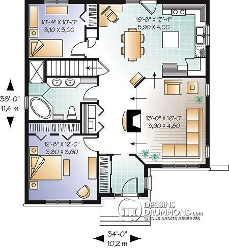 W2737 - Country house, false balcony, 3 bedrooms, covered warparound - plan maison 5 pieces