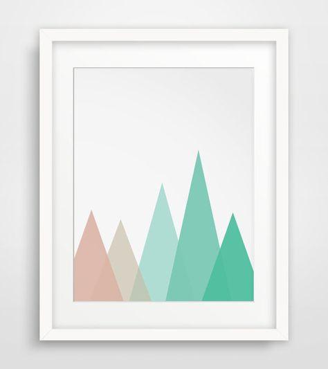 Mint Nursery, Coral Nursery, Geometric Mountains, Mint Mountains, Coral Mountains, Baby Girl Art, Girl Nursery Prints, Coral and Mint
