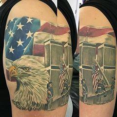 WOW! 911 Memorial Tattoo done by Eddie Lollis@eddielollis  #15years #911memorial #wherewereyou #neverforget #nyc #worldtradecenter #worldtradecenters #manhattan #tattooartistmagazine #patriotictattoo #neverforget #911tattoo #firerescue #medic #ems #RaisingtheFlagatGroundZero  Artists - Share by tagging us & submit by using #tattooartistmagazine