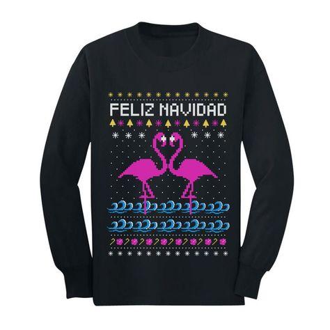 Feliz Navidad Flamingo Ugly Christmas Sweater Youth Kids Long Sleeve T-Shirt