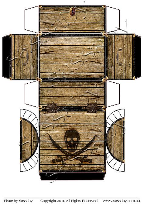 Its a Pirate Treasure Chest Box Template you can Print and Assemble…