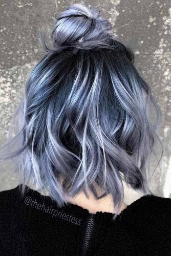 10 Charming Top Knot Hairstyles Lovehairstyles Com Hair Styles Blue Ombre Hair Hair Dye Colors