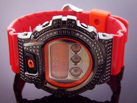 Men's Casio G Shock CZ Black crystal Red  Watch