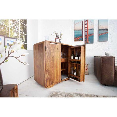 Meuble Bar 100 Cm Moderne En Bois Massif Naturel Vitrine Design