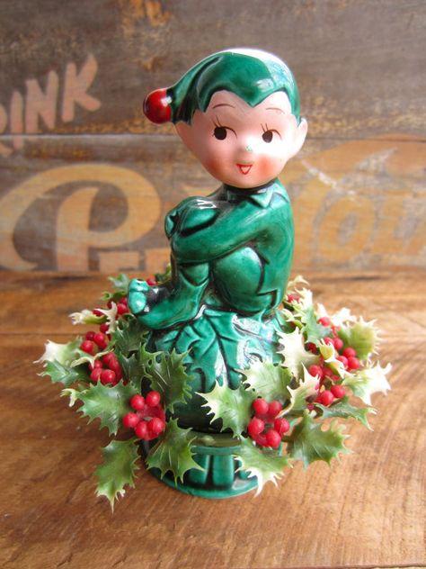 Vintage Style Elf  Christmas Pixi Elf  Spun Cotton Elf  Retro Style Elves Set Of 3